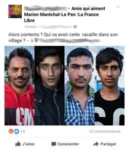 Facebook post raciste