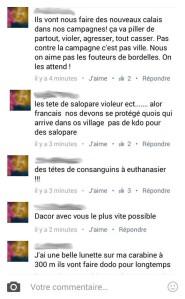 Facebook posts racistes